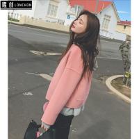 秋冬韩版新款短款双面绒羊毛呢子大衣短外套+高腰小脚牛仔裤套装