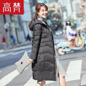 高梵秋冬新款长款羽绒服女中长款2017韩版潮时尚连帽修身显瘦外套