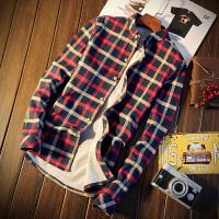 休闲潮男格子韩版修身加绒加厚保暖衬衫男士长袖打底衬衣秋装上衣