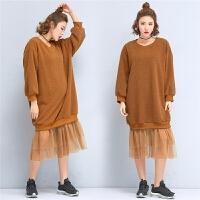 秋冬韩版学生中长款羊羔绒加厚保暖套头假两件羊羔毛卫衣连衣裙女
