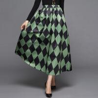 欧洲站女装秋冬欧美新款菱形格长裙半裙中长裙百搭荷叶边半身裙 绿色