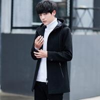 风衣男中长款纯色外套男士毛呢大衣冬季韩版潮流青年连帽冬装外衣 黑色