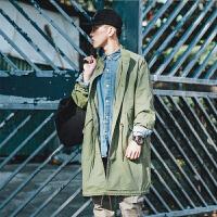 秋季外套男韩版潮流新款休闲夹克男士风衣中长款帅气上衣青年 军绿色 M