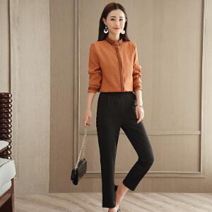 RANJU然聚2018女装春季新品新款OL时尚衬衫+韩版小脚裤套装女