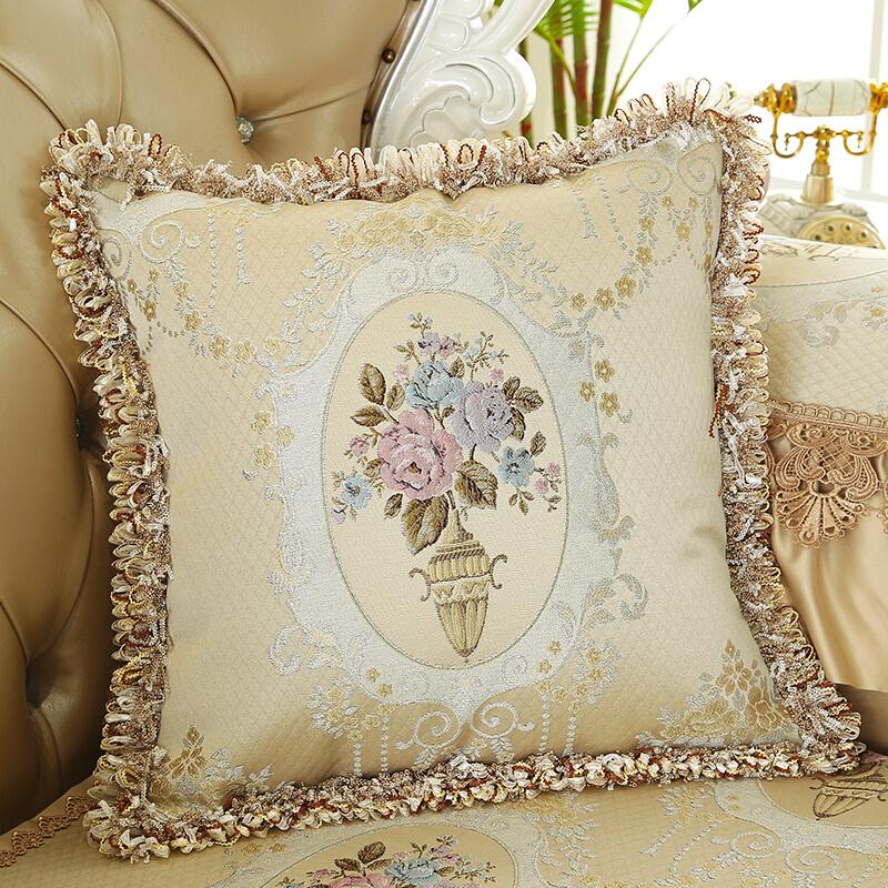 皮沙发抱枕靠垫客厅家用欧式抱枕套靠枕蕾丝大靠垫含芯可定制  【含枕蕊】
