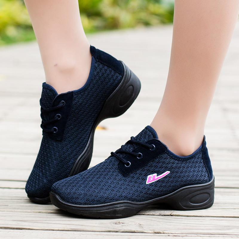 回力舞蹈鞋女鞋子春秋季广场舞鞋透气网面鞋软底健身鞋防臭跳舞鞋