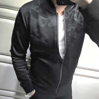 秋季新款男士立领休闲运动夹克外套潮流精致暗纹迷彩棒球服 黑色 HJ1717
