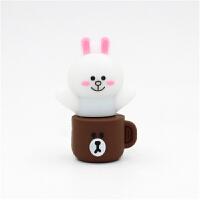 七夕礼物 可爱马克杯布朗熊u盘16G可妮兔莎莉鸡卡通手机两用优盘防水