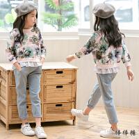 童装女童秋装套装新款韩版潮衣中大儿童印花卫衣牛仔裤套