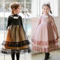 女童加绒连衣裙冬装新韩版网纱蓬蓬公主裙儿童新年礼服长裙子