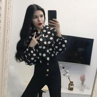 女神范衣服韩版时尚雪纺波点蝴蝶结上衣+单排扣高腰长裤 气质套装