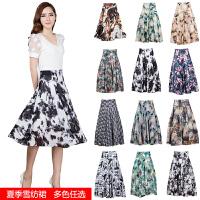 中年女装夏装裙子夏季长裙 妈妈装中裙雪纺裙装40-50岁半身裙 裙