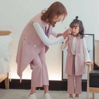 亲子装母女西装背心套装韩版2018新款秋装女大童九分裤+中长马甲