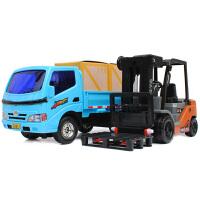 工程车套装儿童玩具车男孩子平板小货车运输车叉车装载机组合