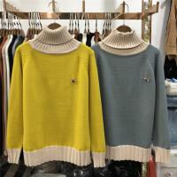 A4高领毛衣女套头加厚韩版 宽松拼色短款学生百搭秋冬新款0.5