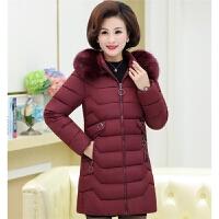 羽绒服 新品女中老年女装冬季棉袄女40岁50中年人妈妈装羽绒中长款加厚棉衣外套