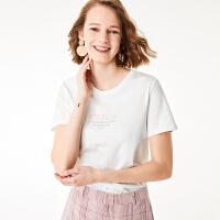 红袖/HOPESHOW字母标语刺绣圆领套头T恤