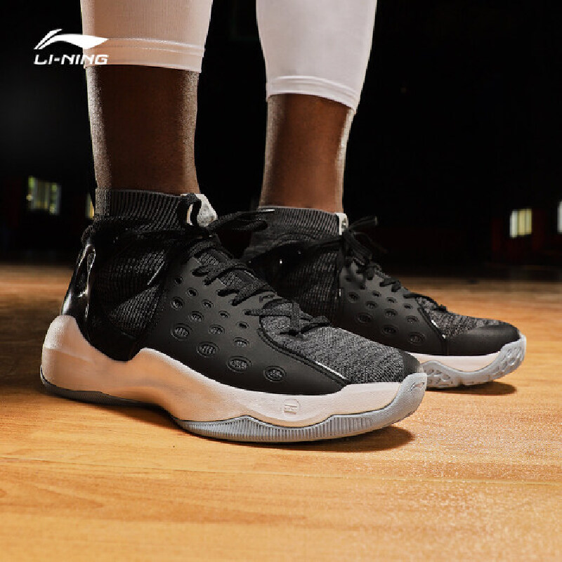 李宁篮球鞋男鞋音速VI 新款减震一体织袜鞋高帮夏季运动鞋ABAN021 专柜新款 减震耐磨防滑