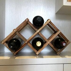 御目 红酒架 实木碳化红酒架摆件创意葡萄酒架客厅阳台置物架家居装饰架家用酒瓶收纳架欧式洋酒架