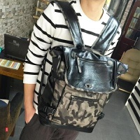 香港潮牌新款男双肩包男士商务背包旅行百搭电脑包迷彩男包 黑色
