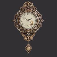 豪华欧式挂钟客厅书房办公室黄铜摆钟创意艺术壁挂钟表田园静音复古装饰时钟桌面摆设