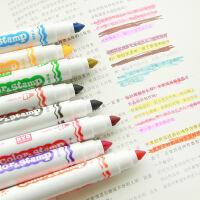韩国文具 可爱印章荧光笔 果冻创意糖果色记号笔彩色笔双头
