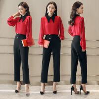 红色衬衫黑色裤子时尚两件套2018女新款春季港风韩版气质名媛套装