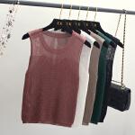 夏季韩版外穿破洞镂空无袖冰丝针织吊带背心女纯色修身短款打底衫