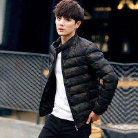 冬季新款棉衣男装修身青年韩版潮流迷彩立领加厚棉袄休闲棉服外套