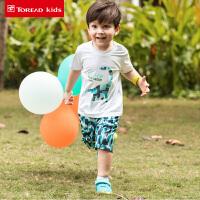 探路者童装 2018春夏新款男童弹力速干透气短袖短裤套装QAXG83021