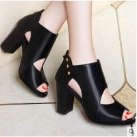 莱卡金顿春夏季新款欧洲站鱼嘴鞋性感显瘦女鞋粗跟防水台高跟鞋女凉鞋6225