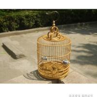 黄雀鸟笼竹笼鸟笼玉鸟笼大小号珍珠文鸟贝子金丝雀笼子带配件22cm26cm 带笼罩