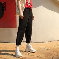 初语夏装新款 高腰水洗黑色好搭休闲撞色分割设计牛仔长裤