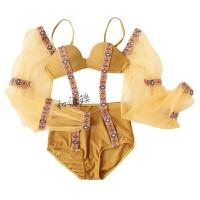 比基尼三件套女2018新款性感三点式泡泡袖泳装小胸聚拢连体泳衣 桔色