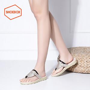 达芙妮旗下shoebox鞋柜夏新款人字拖夹趾学生少女凉鞋休闲低跟平底女鞋