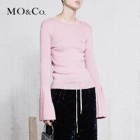 MOCO春季新品圆领压褶袖多色针织毛衫MA181SWT318 摩安珂