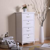 欧式小床头柜迷你夹缝收纳柜实木边柜小斗柜白色柜卧室小柜子窄柜 白色4层42cm 整装