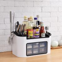 家用厨房多功能组合收纳刀架置物架调料盒调味瓶罐调味料盒架套装 有盖款白色(PP材料) 升级豪华版