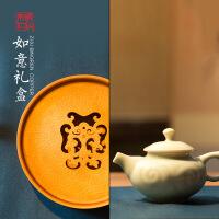 朱炳仁铜 如意礼盒 如意茶具礼盒套装建水铜茶盘+青瓷壶 家居摆件艺术礼品