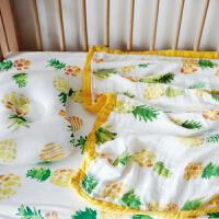 婴儿纱布被子四层新生儿包巾抱被夏季薄竹纤维空调被宝宝盖毯 菠萝三件套 盖毯+床笠+枕头