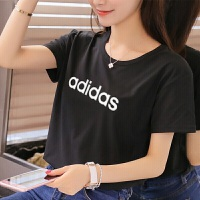 adidas阿迪达斯NEO女子短袖T恤2018新款修身休闲运动服CV7026