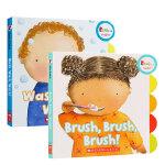 顺丰发货 英文原版进口绘本 幼儿行为习惯早教养成纸板书2册 Brush, Brush, Brush!我爱刷牙/Wash