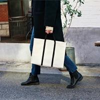 韩国简约商务公文包女帆布手提文件包百搭休闲学生布书包a4文件袋