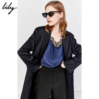 Lily2019冬新款女装撞色印花双层西装领大衣中长款毛呢外套1940