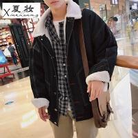 夏妆港风牛仔外套男秋冬季长袖韩版学生百搭帅气宽松潮流夹克上衣外衣 加绒款
