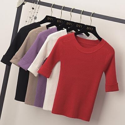 针织打底衫女2018春装新款上衣韩版短款毛衣学生修身半袖t恤