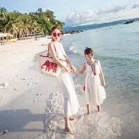 亲子装夏沙滩裙2018新母女波西米亚长裙海边度假公主连衣裙