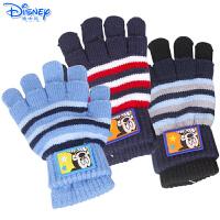 迪士尼儿童手套冬款五指保暖手套男女童宝宝两用五指全指针织手套
