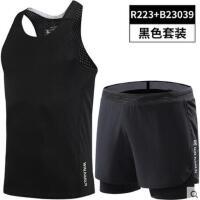 户外新品运动健身服男短裤跑步田径马拉松三分裤背心夏季双层衣服训练