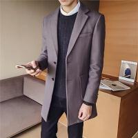 秋冬季男士风衣中长款韩版潮流毛呢大衣男装英伦修身呢子外套